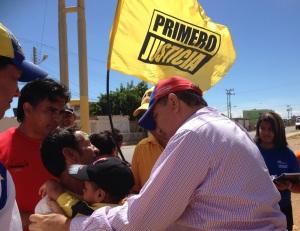 El candidato fue recibido con entusiasmo.